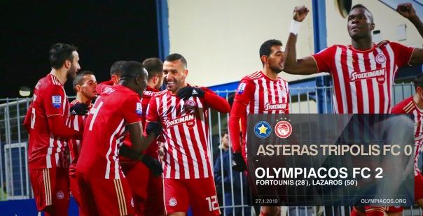 Άνετο πέρασμα από την Τρίπολη ο Ολυμπιακός 0-2 τον Αστέρα Τρίπολης